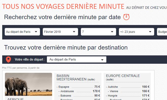 voyage dernière minute