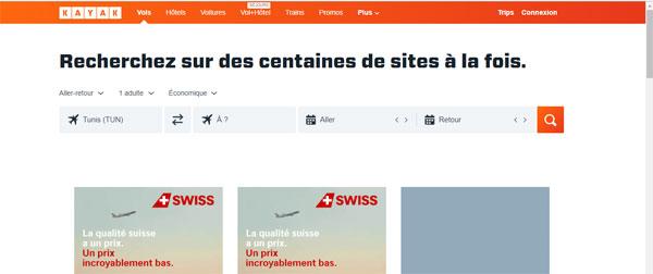 Accès au site kayak.fr